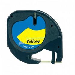 Fita Compatível Dymo LETRATAG 91202 - 12mm x 4 metros Preto/Amarelo S0721620