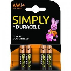 PILHAS DURACELL SIMPLY AAA 4 PACK MN2400B4S